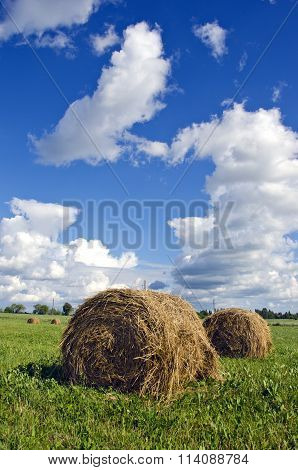 Haystacks In The Field On Cloudy Day