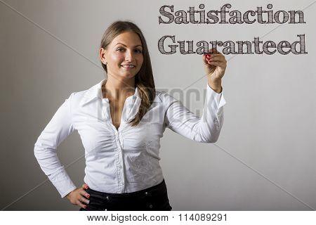 Satisfaction Guaranteed - Beautiful Girl Writing On Transparent Surface