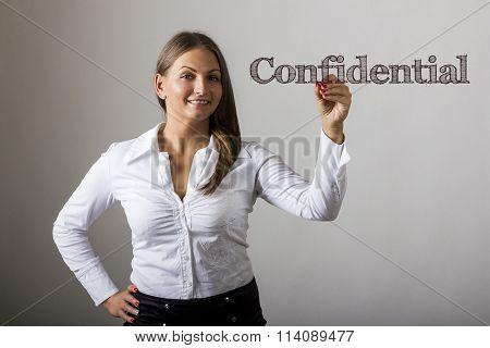Confidential -  Beautiful Girl Writing On Transparent Surface