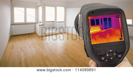 Thermal Image of Heat Leak through Windows