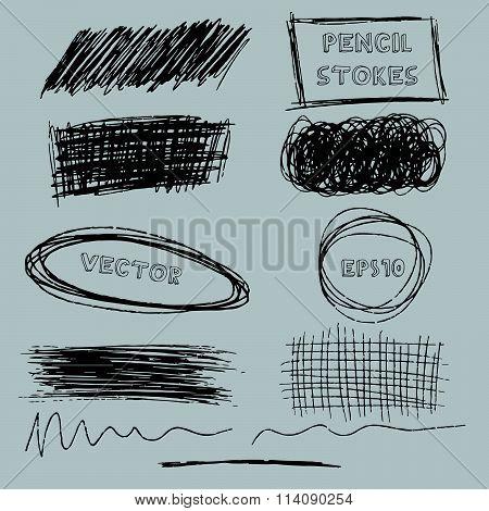 Vector set of grunge pencil pen-like strokes. Vector illustration EPS10.