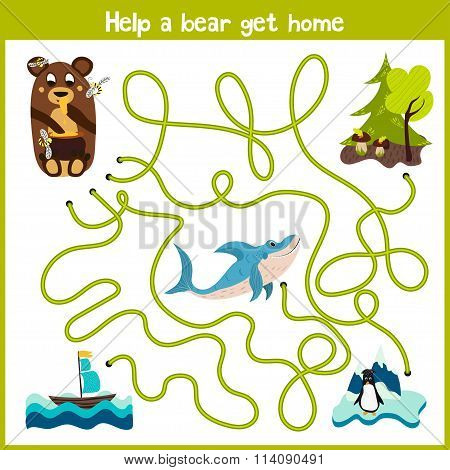 Cartoon Of Education Will Continue The Logical Way Home Of Colourful Animals. Take A Bear Home In Th