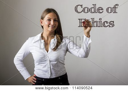 Code Of Ethics - Beautiful Girl Writing On Transparent Surface