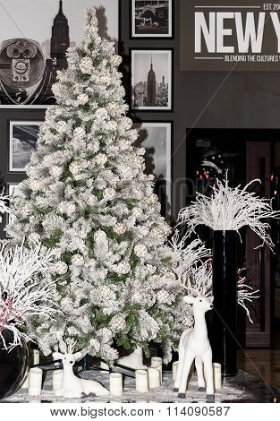 CHISINAU, MOLDOVA - JANUARY 2016: Christmas tree at Radison Blue Hotel