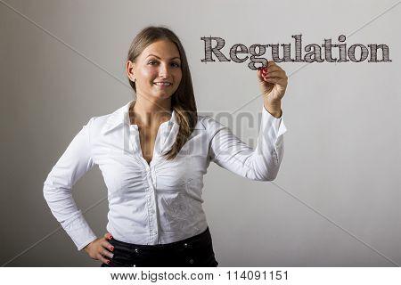 Regulation - Beautiful Girl Writing On Transparent Surface