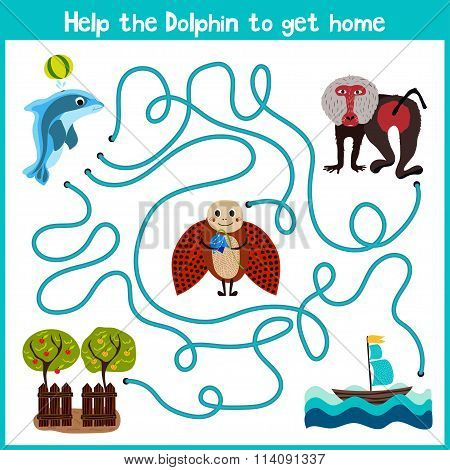 Cartoon Of Education Will Continue The Logical Way Home Of Colourful Animals. Help Little Dolphin To