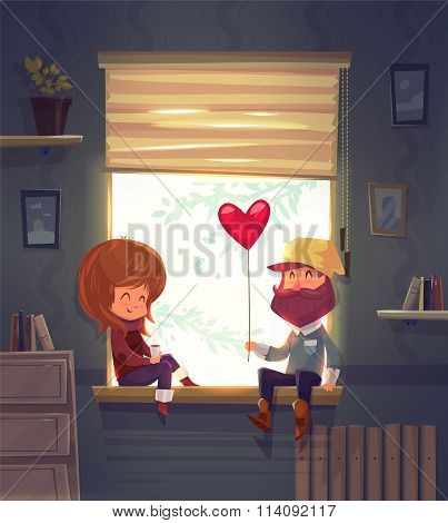 Two lovers sitting on the windowsill in an apartment. Vector cute illustration.