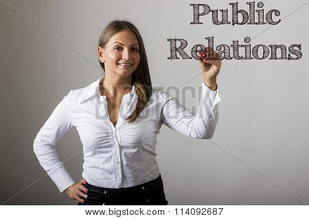Public Relations - Beautiful Girl Writing On Transparent Surface