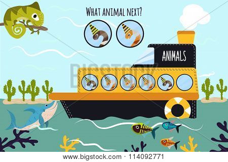 Cartoon Vector Illustration Of Education Will Continue The Logical Series Of Colourful Animals Of Wo