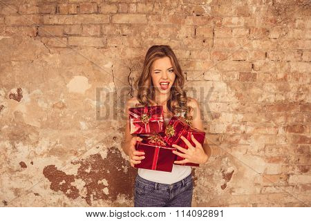 Beautiful Girl With Presents