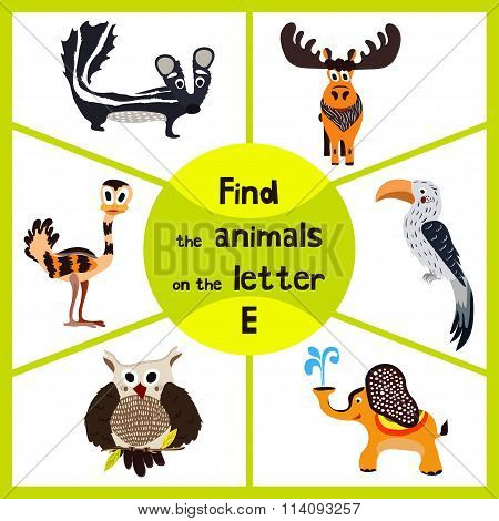 Funny Learning Maze Game, Find All 3 Cute Animals With The Letter E, Emu, Elephant, Elk. Educational