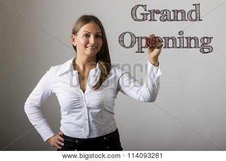 Grand Opening - Beautiful Girl Writing On Transparent Surface