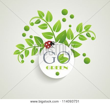 Clean White Label With Green Leaves For Organic, Natural, Eco Or Bio Products