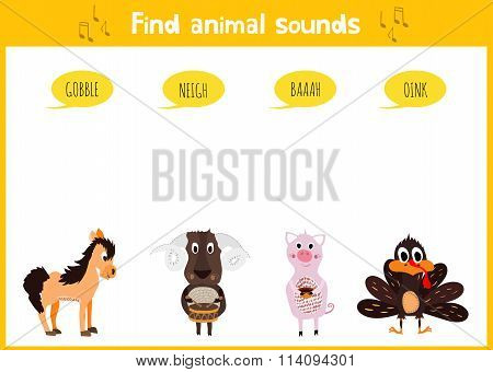 Colorful Children Cartoon Game Education Puzzle For Children On The Theme Of The Study Of The Sounds