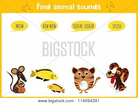 Colorful Children's Cartoon Puzzle Game For Children On The Theme Of Learning Animal Sounds. Vec