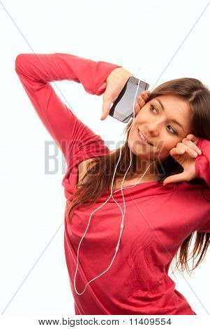 Pretty Girl Listening Music In Headphones