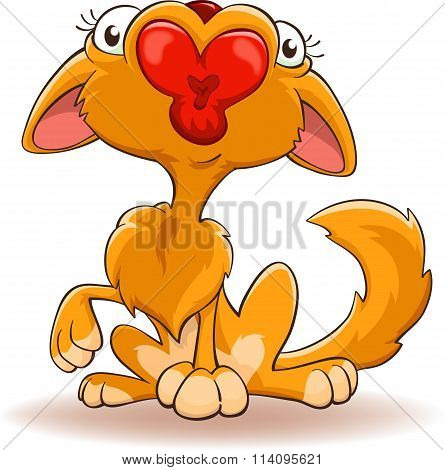 Cartoon Cat With Kissing Mouth