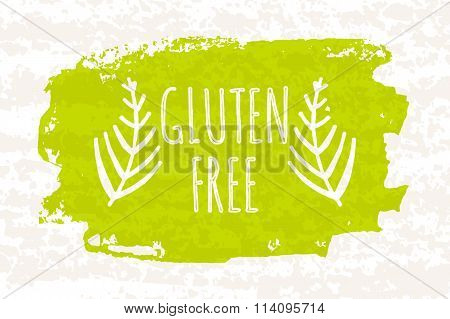 Creative Colorful Green Bio Poster Gluten Free For Healthy Eating And Dieting Isolated On White Back
