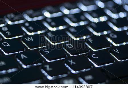 Illuminated Keyboard. Focus On Wasd Keys