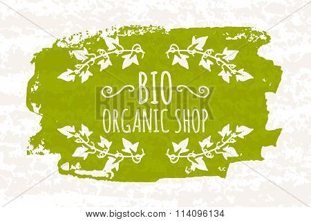 Creative Poster Colorful Green For The Logos Of The Stores That Sell Bio Products And Supplements Fo