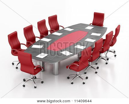 Red And Black Meeting Table