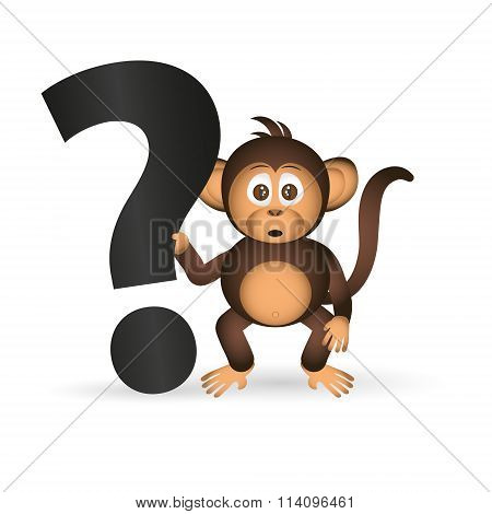 Cute Chimpanzee Little Monkey And Question Mark Eps10