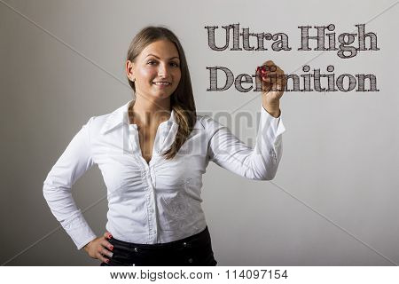 Ultra High Definition - Beautiful Girl Writing On Transparent Surface