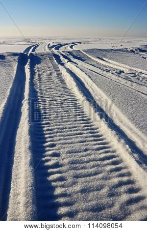 Traces Of The Snowmobile On The Snow