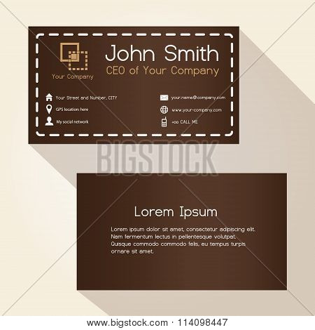 Simple Brown Stitched Like Style Business Card Design Eps10