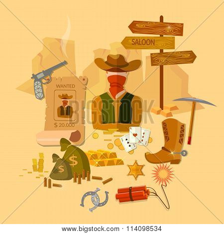Wild West Set Cowboy With Gun Money Bag Hat Vector Illustration