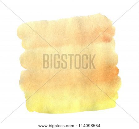 Watercolor Hand Drawn Isolated Yellow And Orange Spot. Raster Illustration