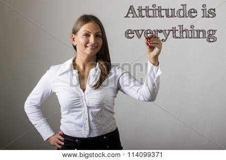 Attitude Is Everything - Beautiful Girl Writing On Transparent Surface