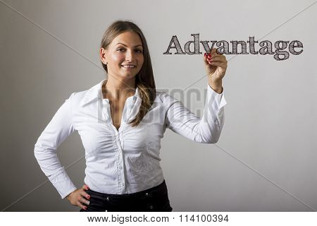 Advantage - Beautiful Girl Writing On Transparent Surface