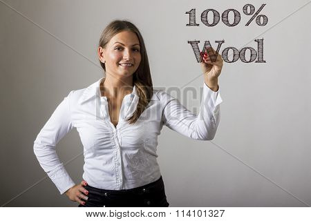 100% Wool - Beautiful Girl Writing On Transparent Surface
