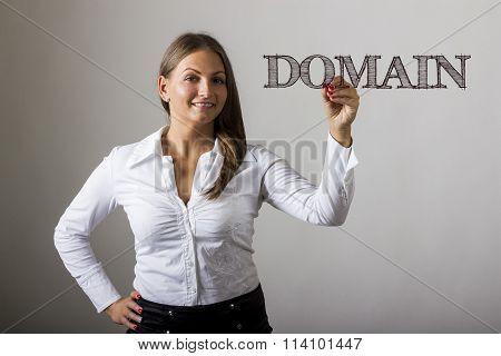 Domain - Beautiful Girl Writing On Transparent Surface