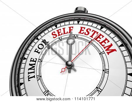 Self Esteem Time Motivation Message On Concept Clock