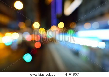 Blured sityscape of Hong Kong at night. May be use like background