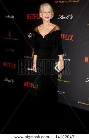 LOS ANGELES - JAN 10:  Helen Mirren at the Weinstein Company & Netflix 2016 Golden Globe After Party at the Beverly Hilton on January 10, 2016 in Beverly Hills, CA