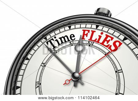 Time Flies Red Message On Concept Clock