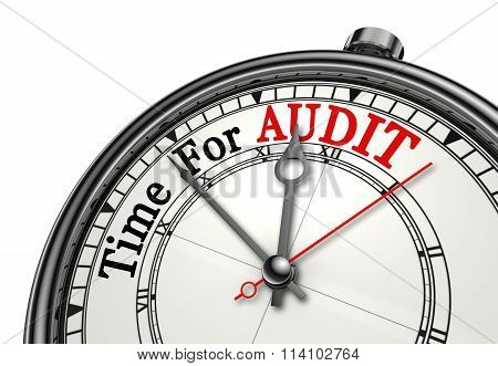 Time For Audit Red Word On Concept Clock