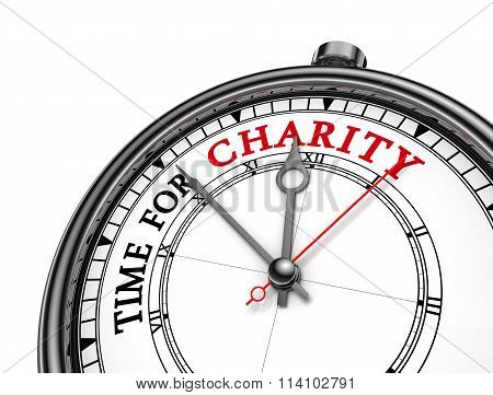 Time For Charity Red Word On Concept Clock