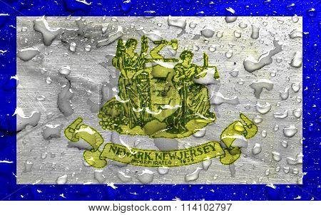 flag of Newark with rain drops