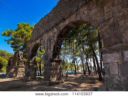 Old town Phaselis in Antalya, Turkey - archaeology background