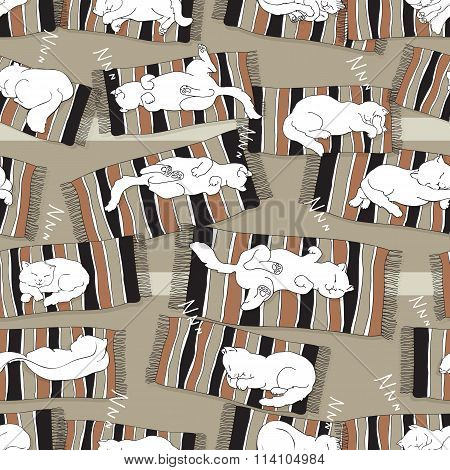 Vector seamless pattern with  sleeping cats.