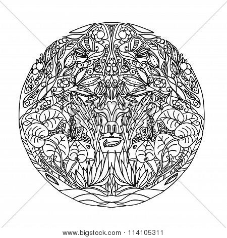 Black And White Circle Ornament Wild Forest, Ornamental Round Lace Design. Floral Mandala. Hand Draw