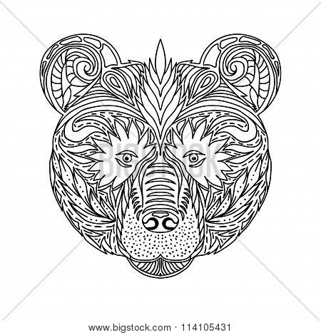 Black And White Ornament Faces Wild Beast Of The Forest Bear, Ornamental Lace Design. Page For Adult