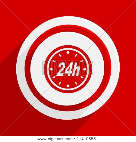 24h red flat design modern vector icon for web and mobile app