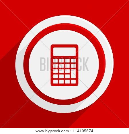 calculator red flat design modern vector icon for web and mobile app