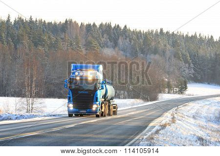 Blue Scania R500 Tank Truck On The Road In Winter