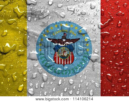 flag of Columbus with rain drops